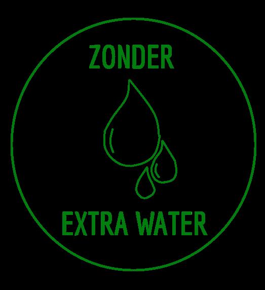 Symbool met de tekst geen extra water